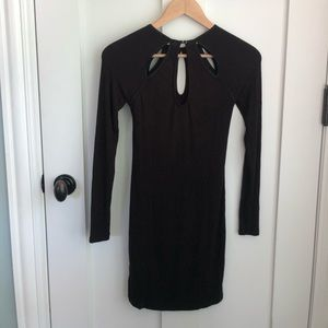 Black body-con dress with keyholes
